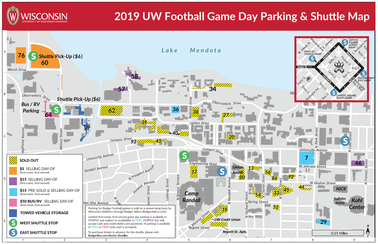 2019 Bucky Shuttle Football Game Day Parking Map