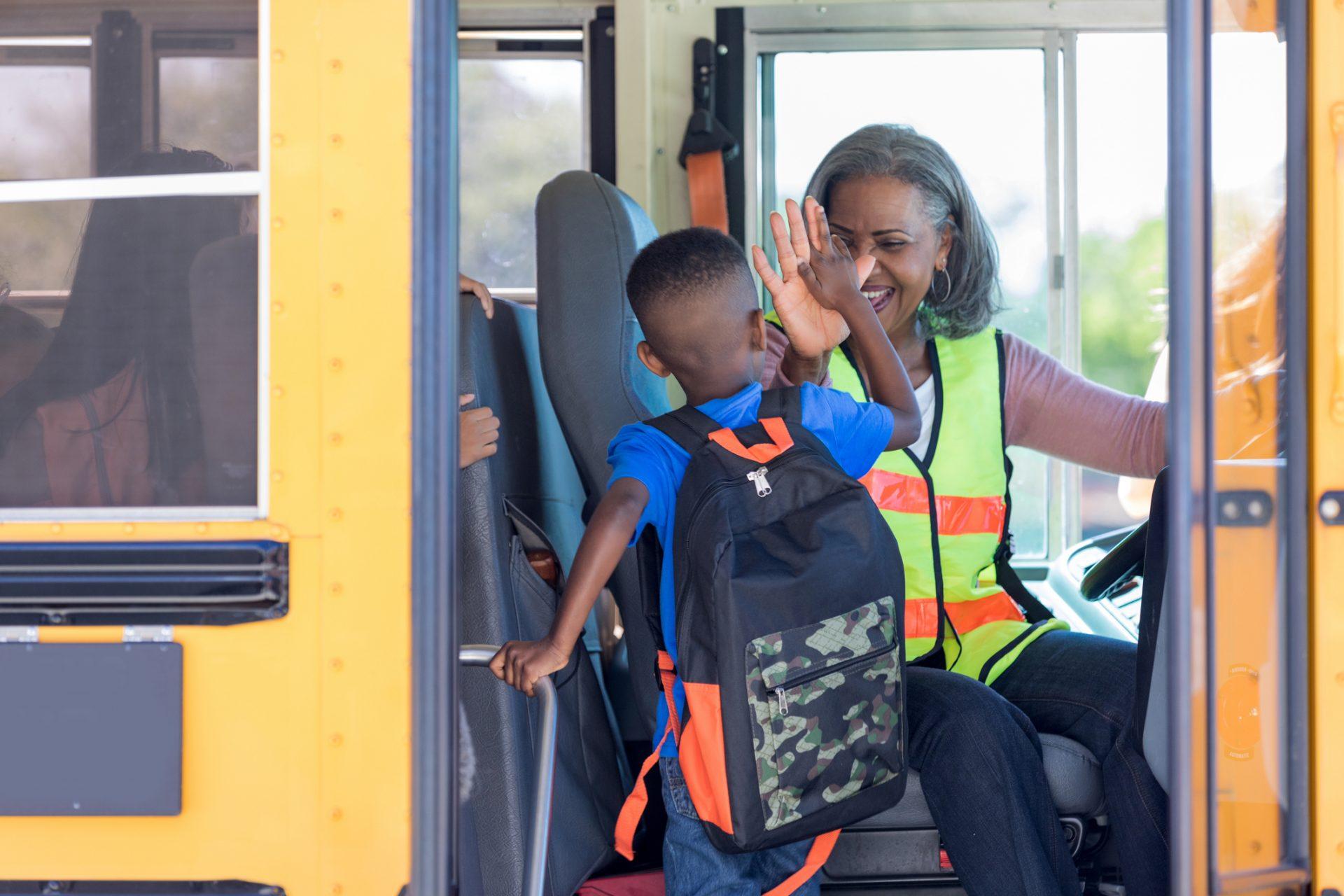 Woman Driving School Bus