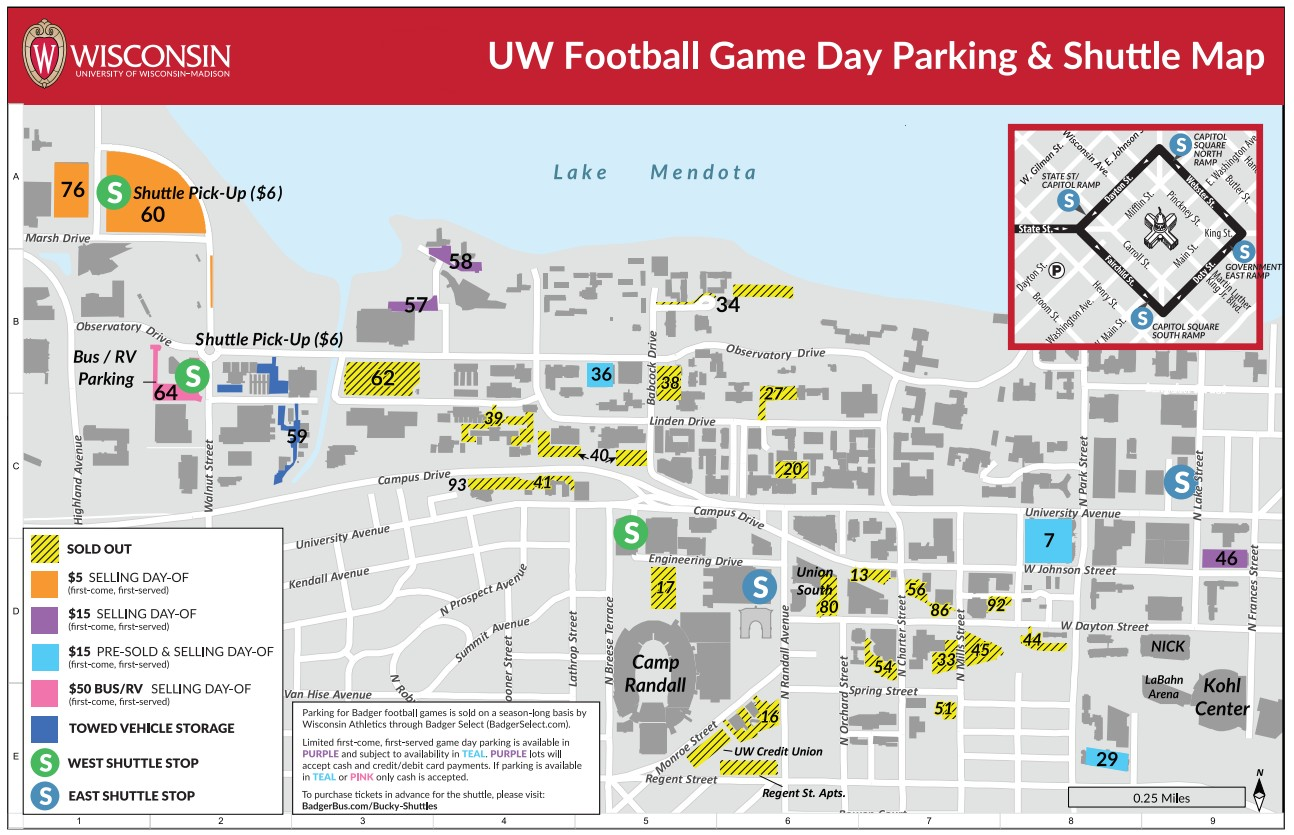 2019 Bucky Shuttle Football Game Day Parking Map